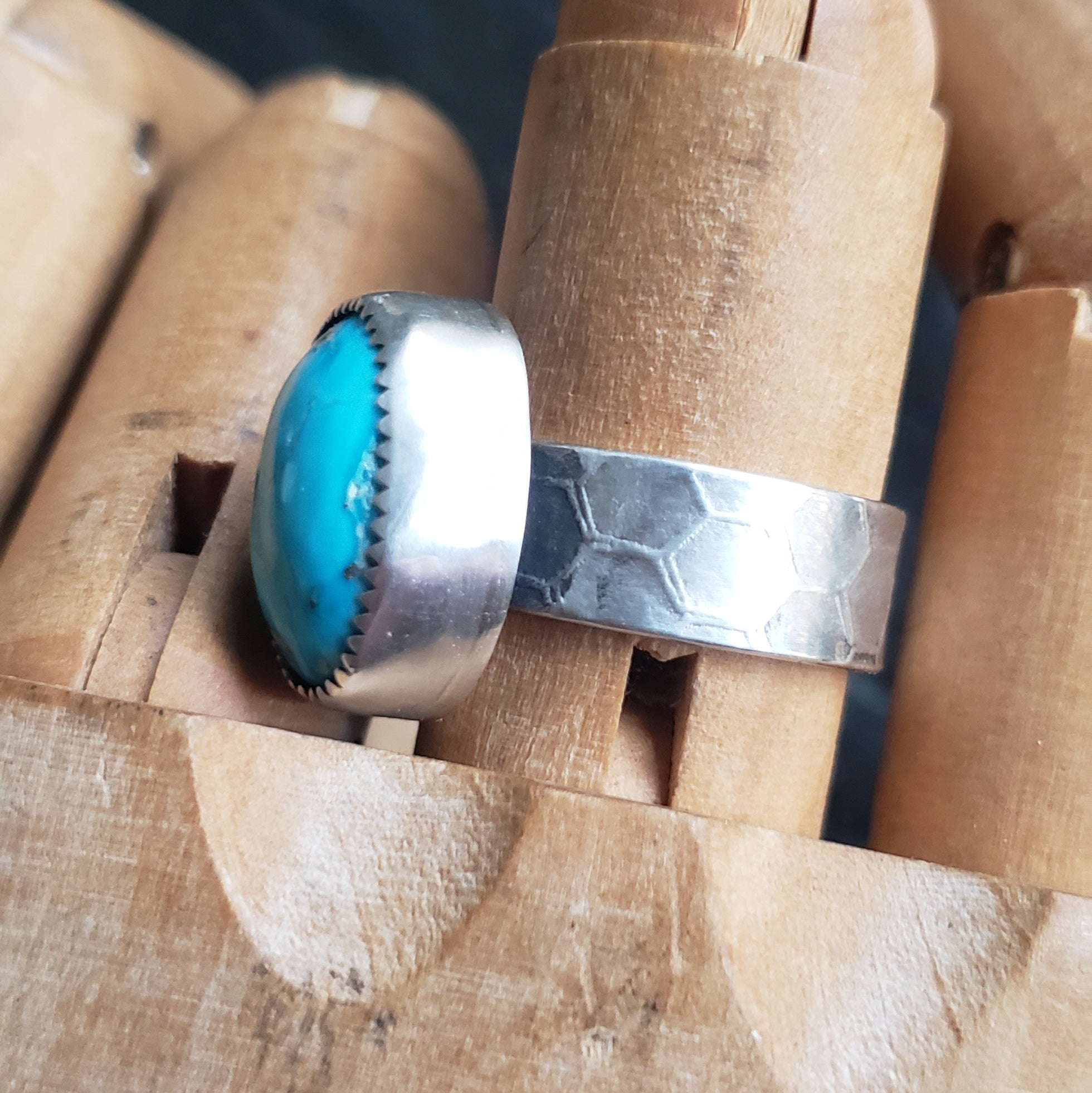 Turquoise Ring with Honeycomb Band in Sterling Silver Size 8.5