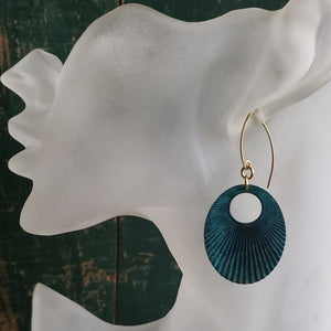 Verdigris Patina Corrugated Oval Earrings
