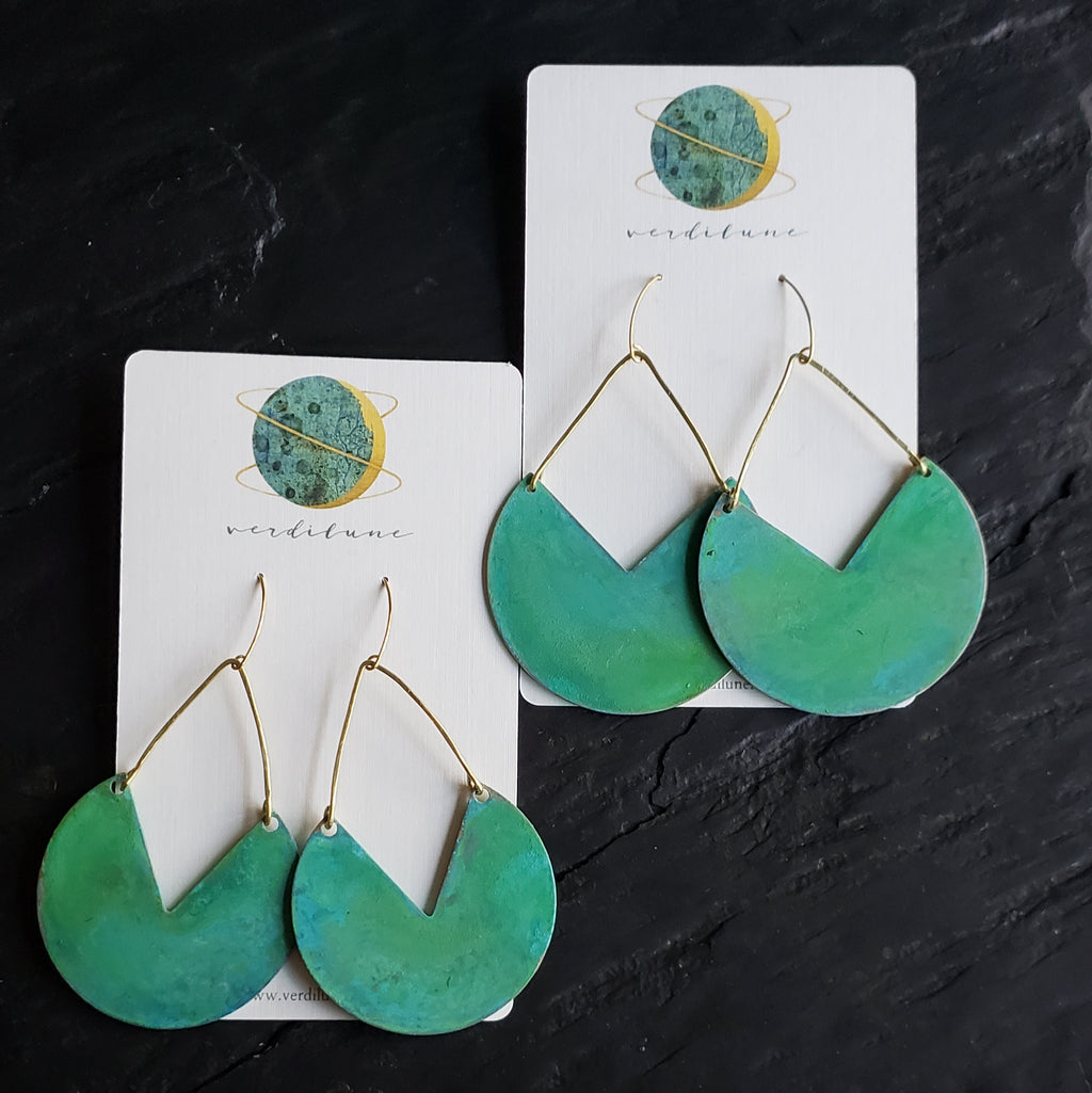Verdigris Green Patina Brass Biggie Earrings