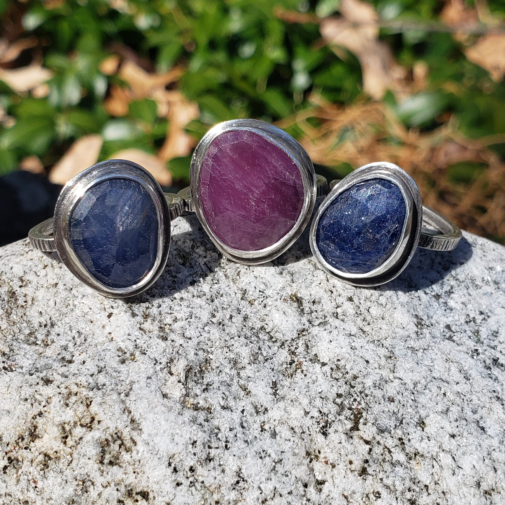 Sapphire Rings in Sterling Silver - 3 Sizes