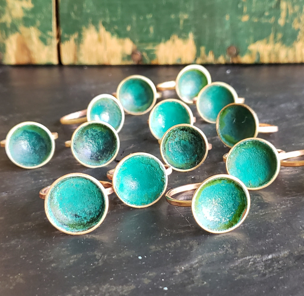 Verdigris Cup Brass Ring