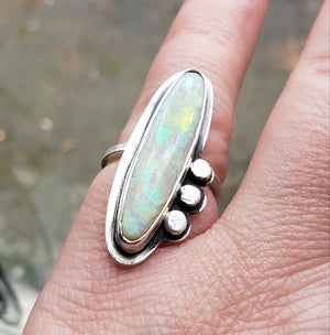 White Opal Ring in Sterling Silver Size 7