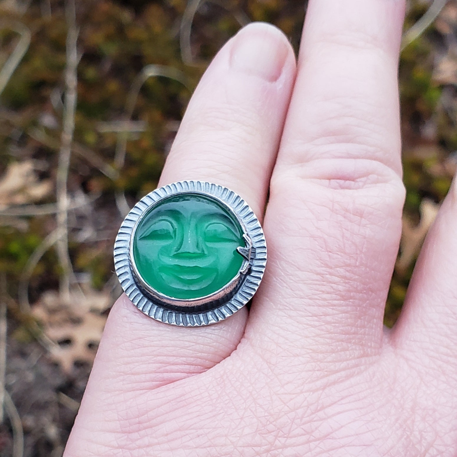 Carved Green Onyx Moon Face Ring