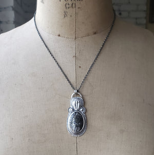 Fossilized Pendant in Sterling Silver w/ Trilobite & Pyritized Ammonite