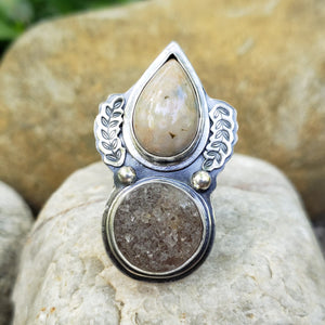 Quartz Druzy & Ocean Jasper Ring in Sterling Silver Size 7.5