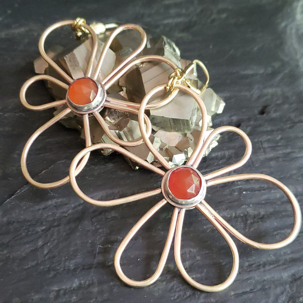 Groovy Blooms - Asymmetrical Carnelian & Brass Earrings