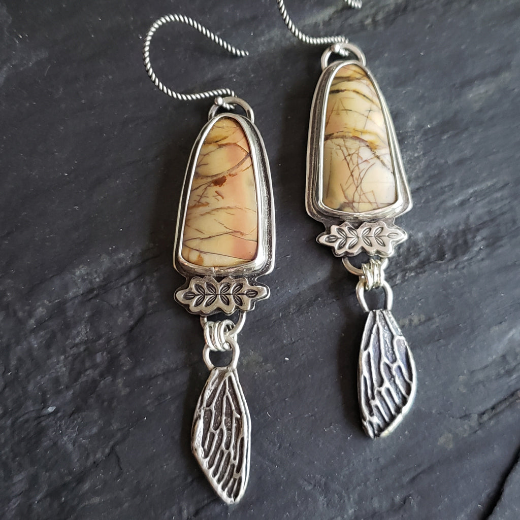 Cherry Creek Jasper Cicada Wing Sterling Silver Earrings