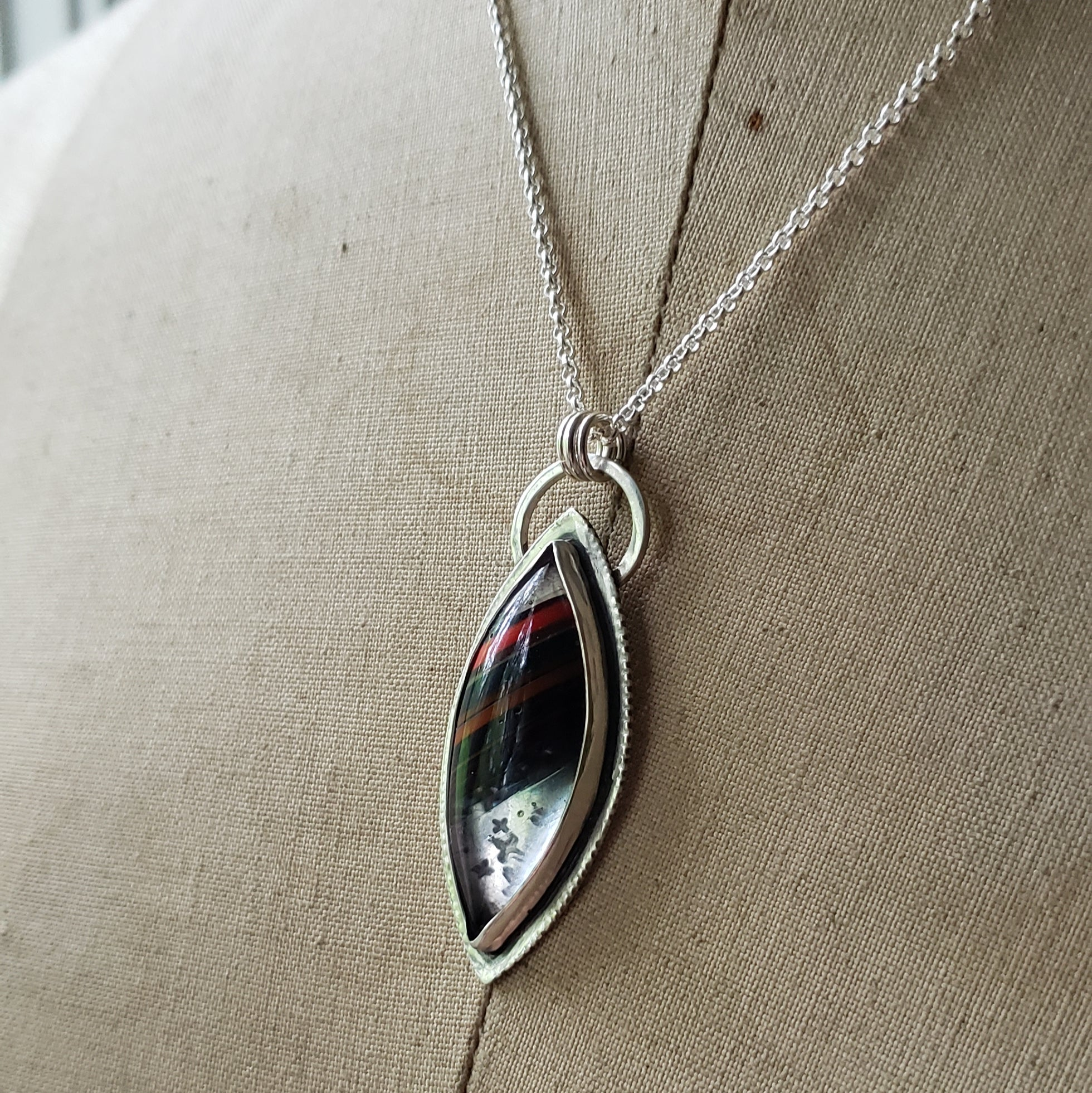 Clearly Striped Surfite Pendant in Sterling Silver