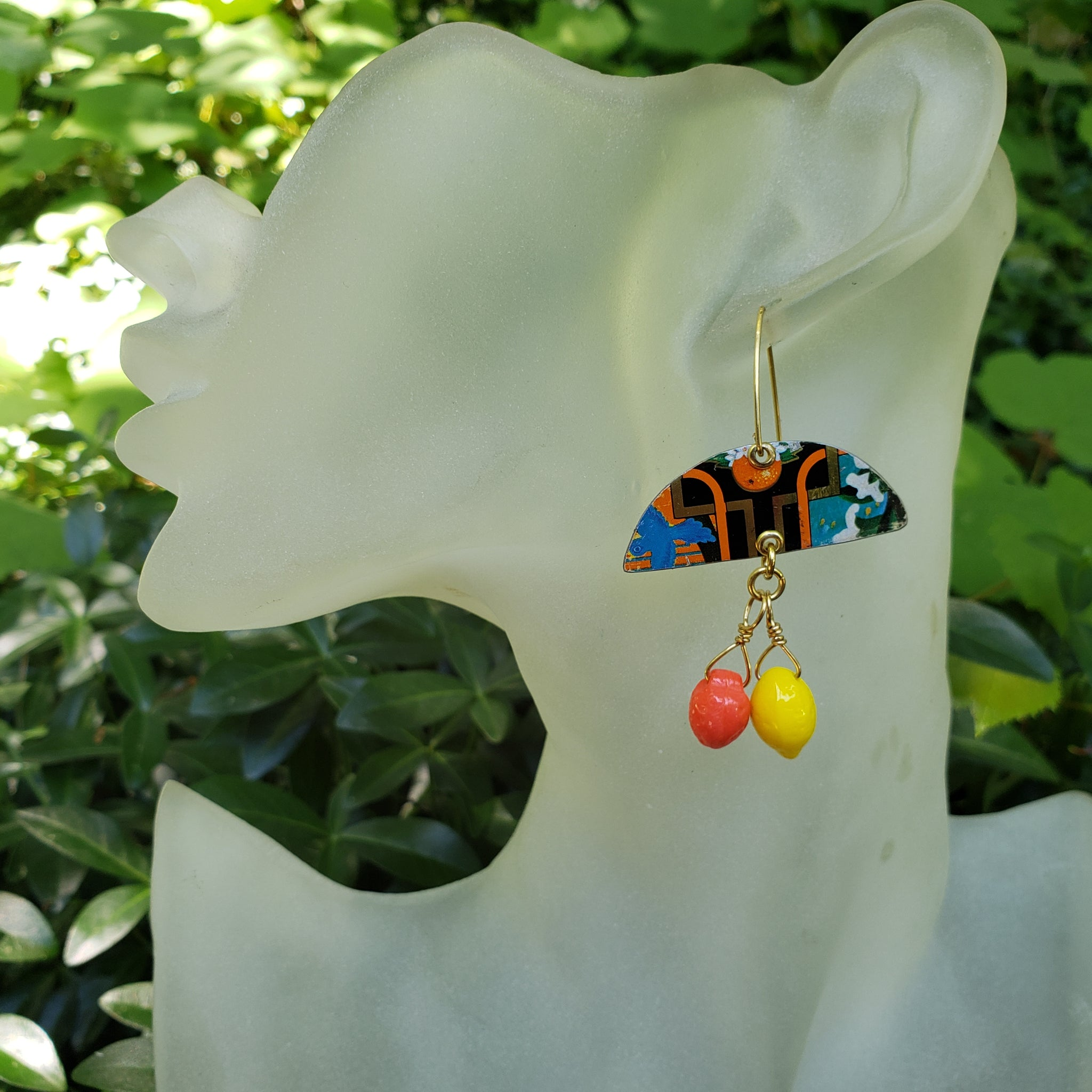 The Citrus Floral Collection - Repurposed Tin Earrings