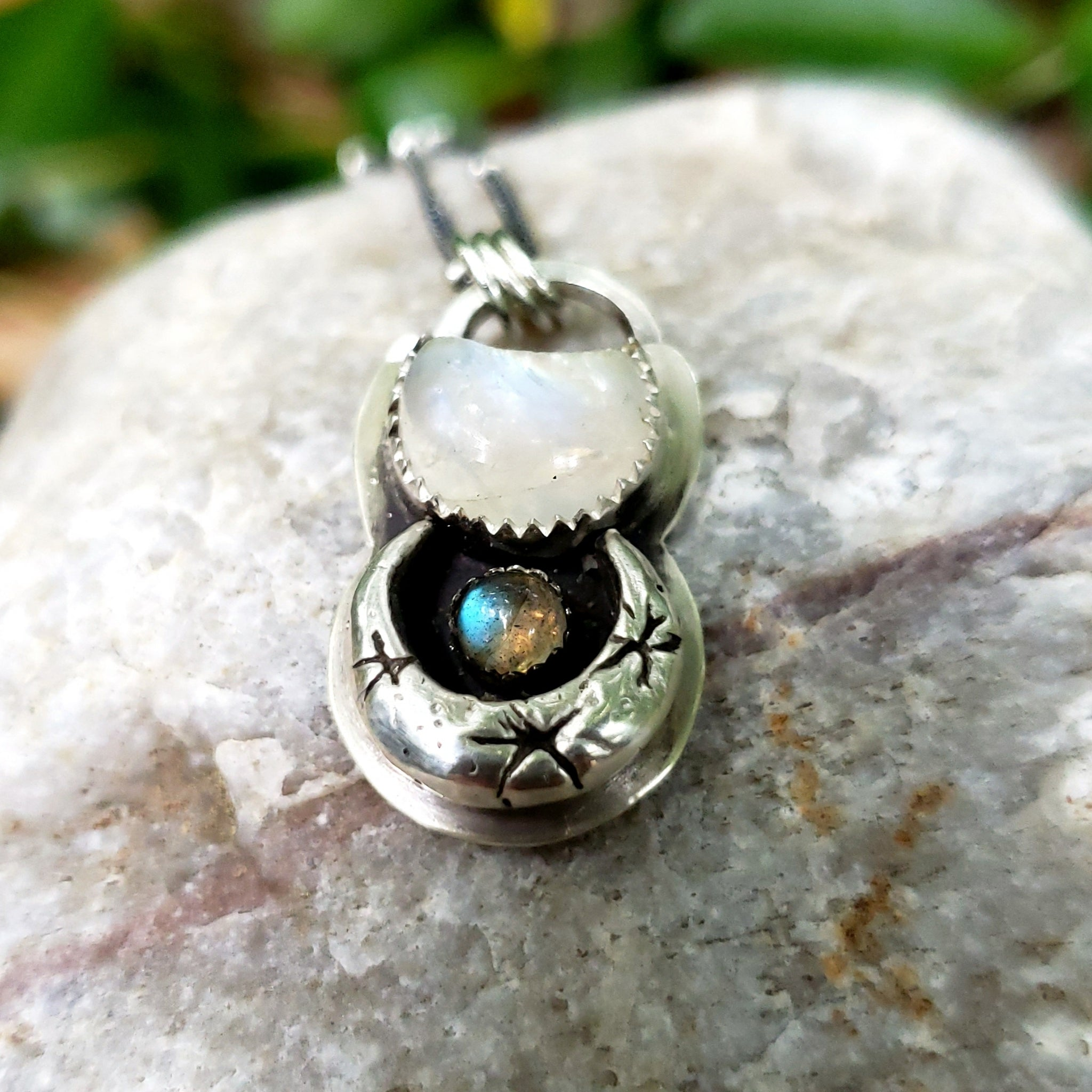 Sparkling Crescent Moon Pendant with Moonstone & Labradorite