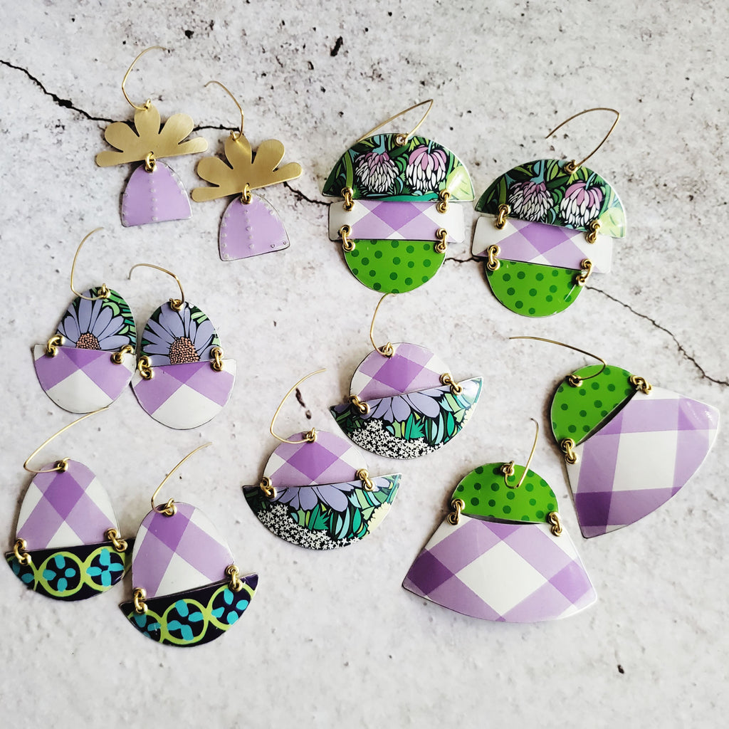 Summer Lavender Collection - Repurposed Tin Earrings