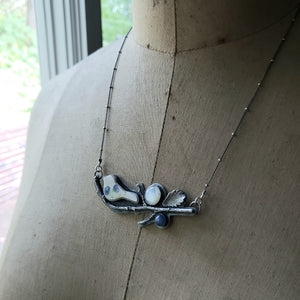 Broken China Birdie on a Branch Necklace - Upcycled China in Sterling Silver