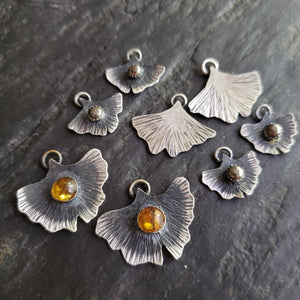 The Woodland Collection - Ombré Amber Gingko Leaf Pendants in Sterling Silver