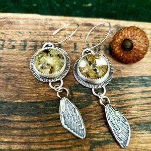 The Woodland Collection - Lichen & Moss Terrarium Earrings in Sterling Silver