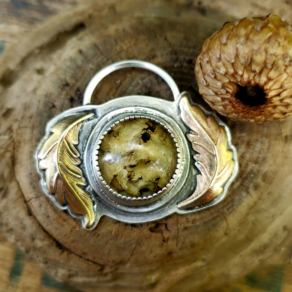 The Woodland Collection - Lichen & Moss Terrarium Pendant in Sterling Silver