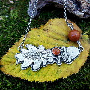 The Woodland Collection - Oak Leaf & Acorn Necklace in Sterling Silver