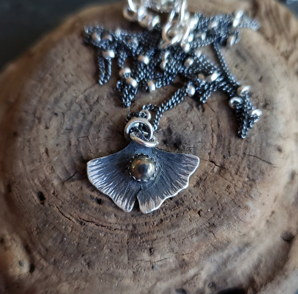 The Woodland Collection - Ombré Pyrite Gingko Leaf Pendants in Sterling Silver