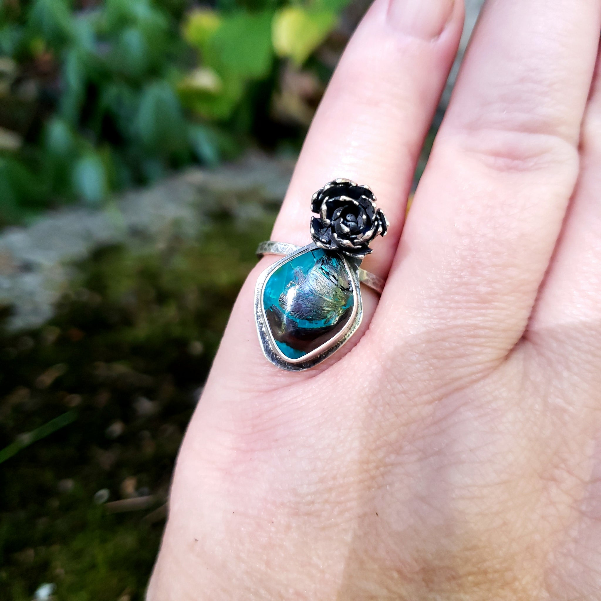 The Woodland Collection - Succulent Ring with Gem Chrysocolla Cuprite in Sterling Silver Size 7.25