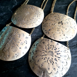 Mandala Stamped Rustic Brass Armor Necklace