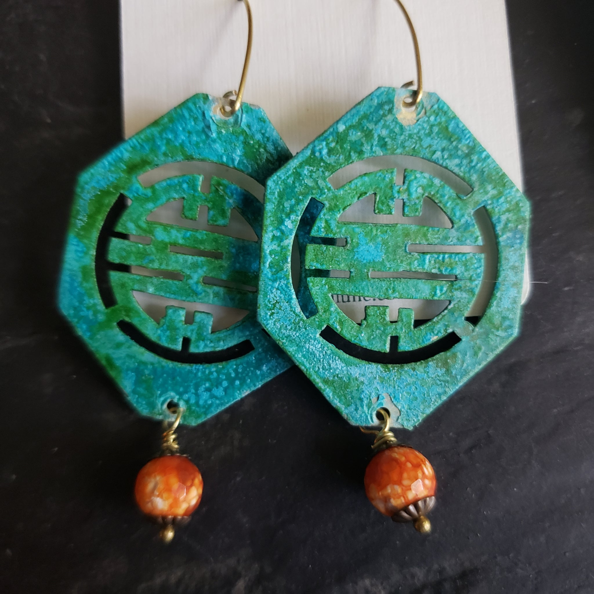 Verdigris Green Patina Chinese Symbol Earrings