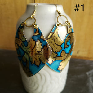 Golden Blue Leaves Collection - Repurposed Tin Earrings