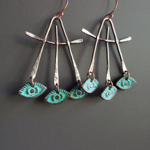 Three Third Eyes Copper Earrings
