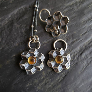Reversible Honey Comb Pendant with Citrine in Sterling Silver