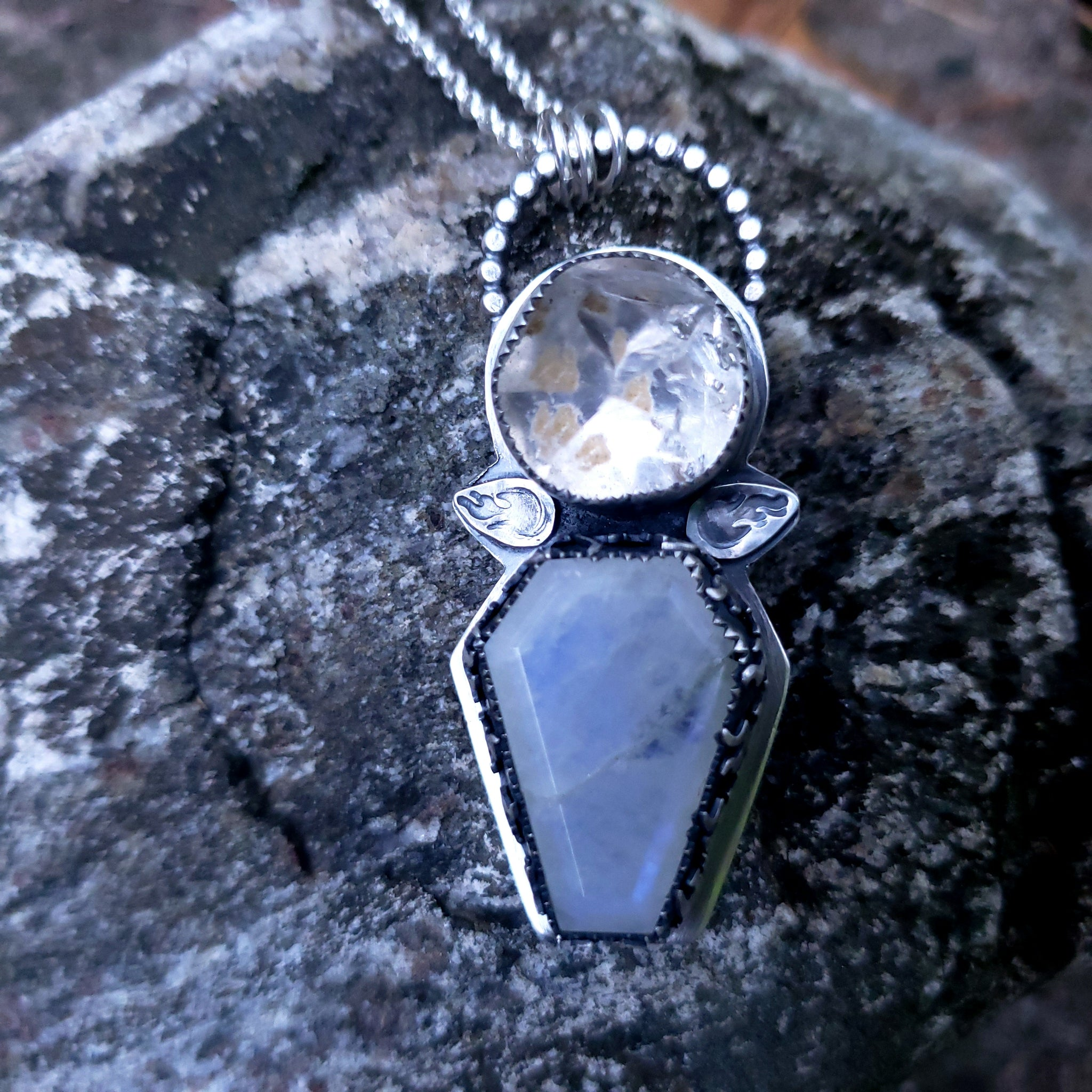 Fire & Ice Pendant - Moonstone Coffin with Herkimer Diamond in Sterling Silver
