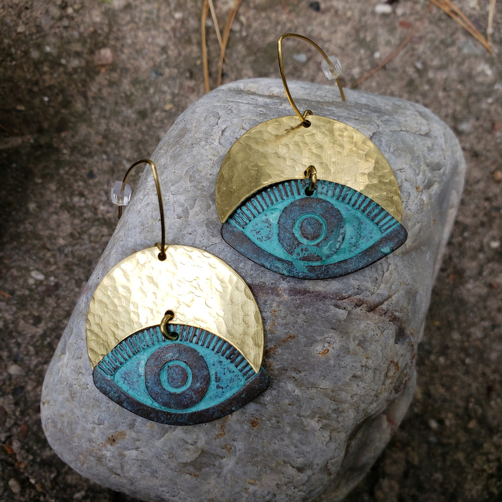 Hear No Evil Eye Verdigris Brass Earrings