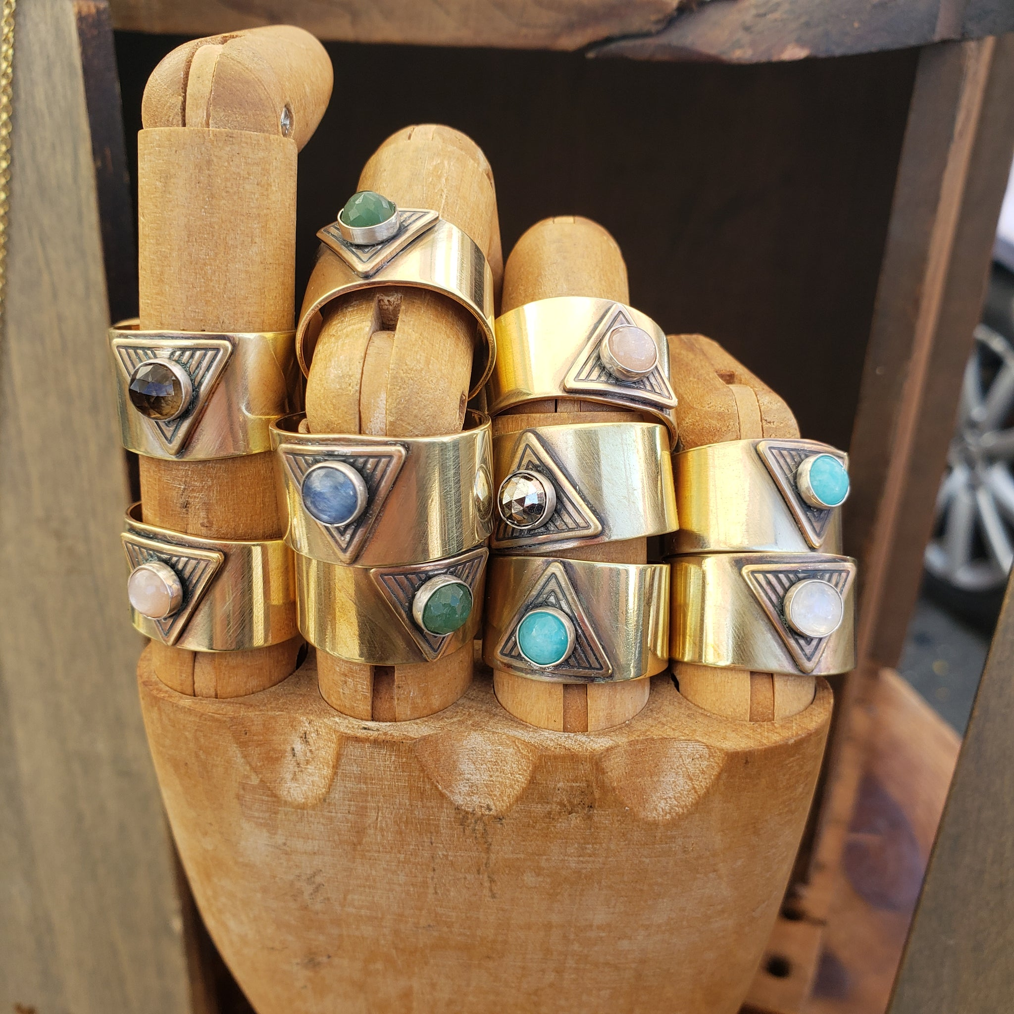 Brass Finger Cuff Adjustable Gemstone Ring