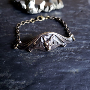 Victorian Flying Bat Bracelet in Brass