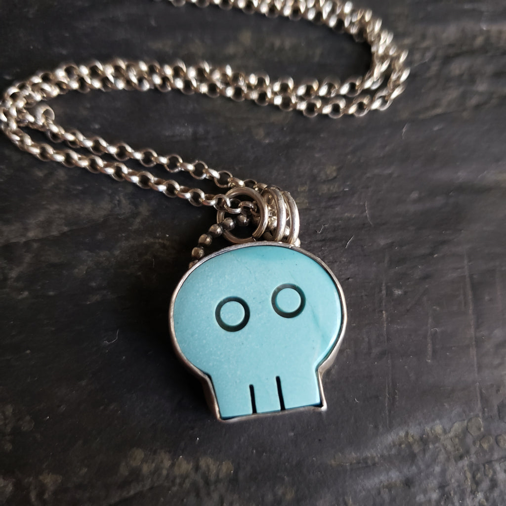 Turquoise Skully Pendant in Sterling Silver
