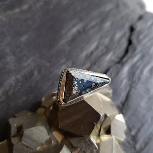 Covellite with Pyrite Ring in Sterling Silver Size 6.75