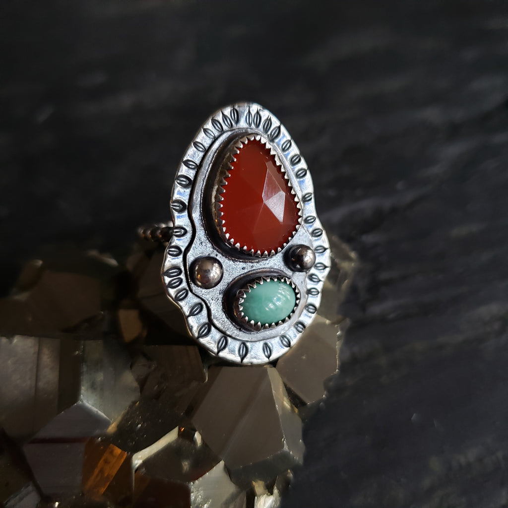 Carnelian & Turquoise Ring in Sterling Silver Size 7.25