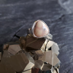 Pale Pink Ocean Jasper Ring in Sterling Silver Size 6.75