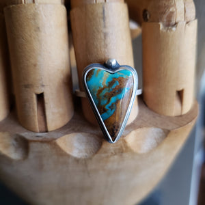 Turquoise Heart Ring in Sterling Silver Size 7.75