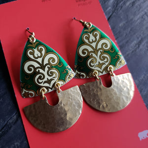 Spearmint Green Holiday Collection - Repurposed Tin Earrings