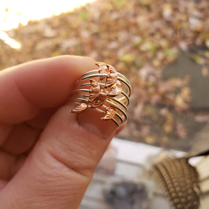 Tiny Crescent Man on the Moon Copper & Sterling Silver Ring