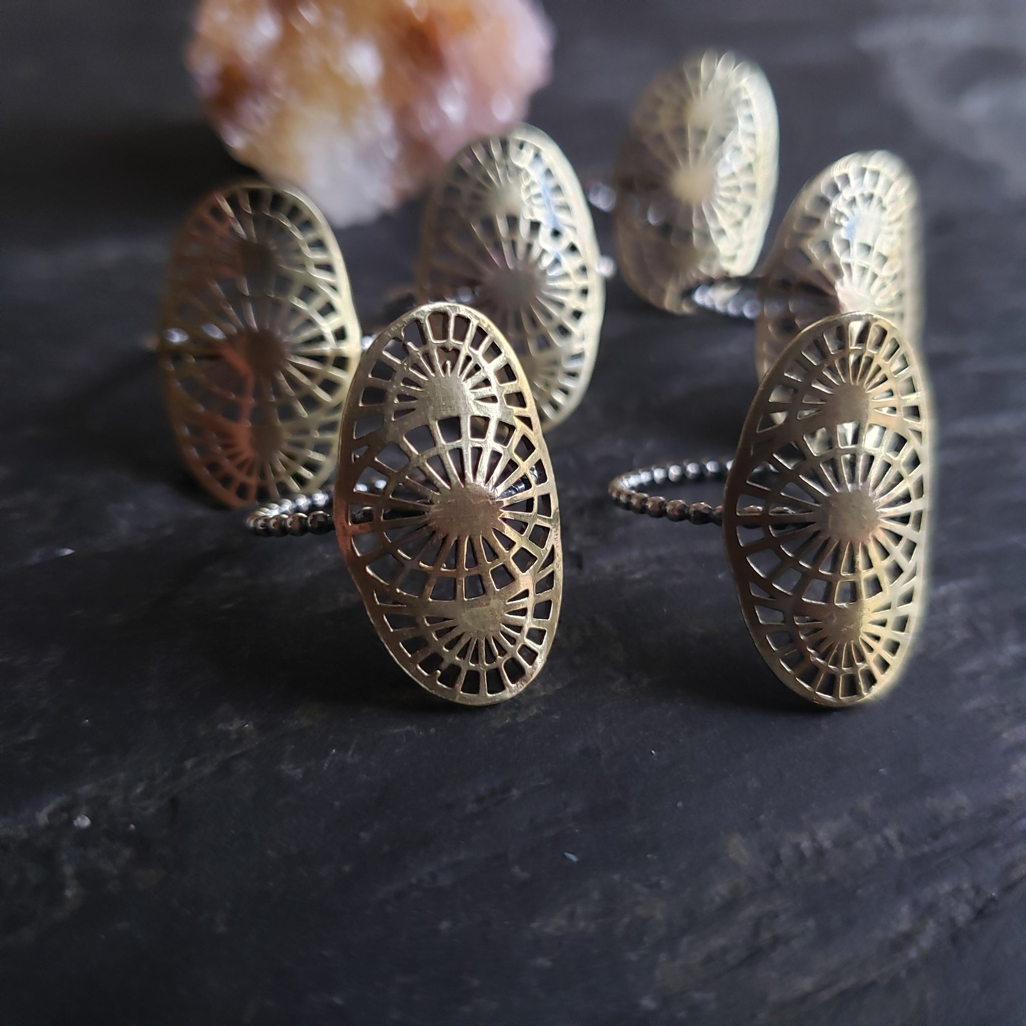 Brass Lacy Spiderweb Shield Ring with Sterling Silver Band