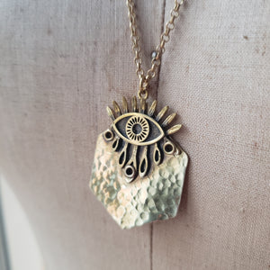 All-Seeing Eye Hammered Brass Pendant