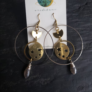 Elemental Metals Collection ◇Equinox◇ Celestially-Inspired Gemstone & Brass Earrings