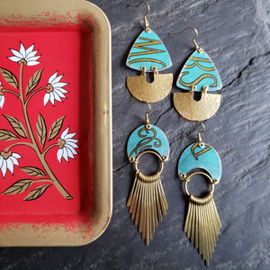Gilded Teal Bowers Mints Repurposed Vintage Tin Earrings