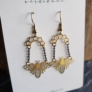 Elemental Metals Collection ◇Queen Bee◇ Celestially-Inspired Brass Earrings