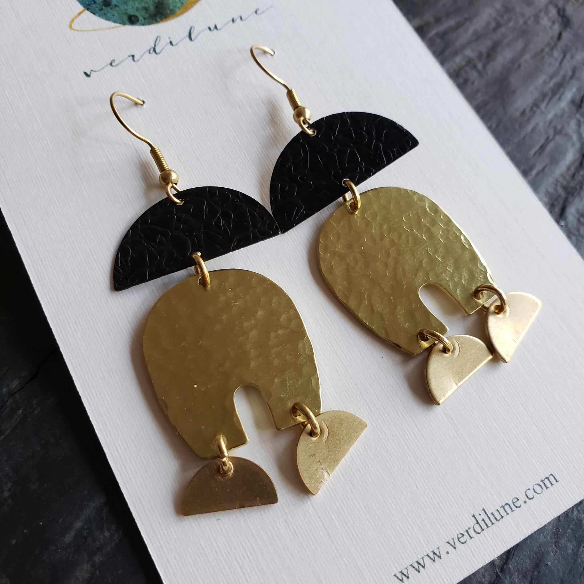 Elemental Metals Collection ◇ Dark Matter◇ Celestially-Inspired Brass Earrings