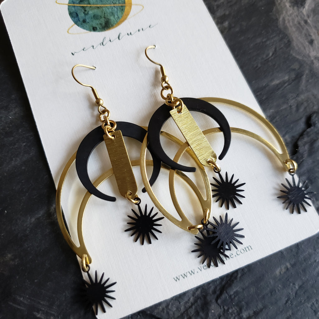 Elemental Metals Collection ◇Big Bang◇ Celestially-Inspired Brass Earrings