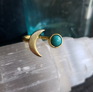 Gemstone Crescent Moon Adjustable Brass Ring