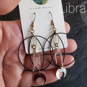 Elemental Metals Collection ◇ Zodiac ◇  Celestially-Inspired Gemstone & Brass Earrings