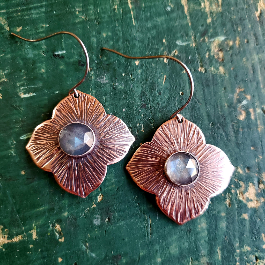 Hammered Copper & Labradorite Earrings