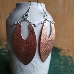 Textured Copper Shield Earrings
