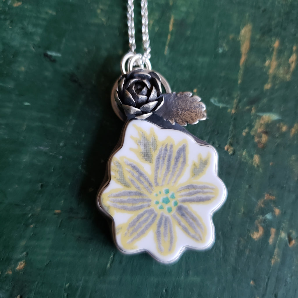 Daisy Pendant - Upcycled China in Sterling Silver